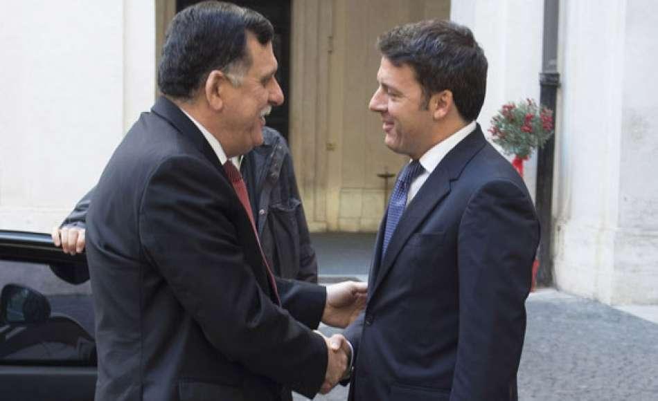 Italia-Libia: Matteo Renzi riceve a Palazzo Chigi il primo ministro libico Fayez al Sarraj