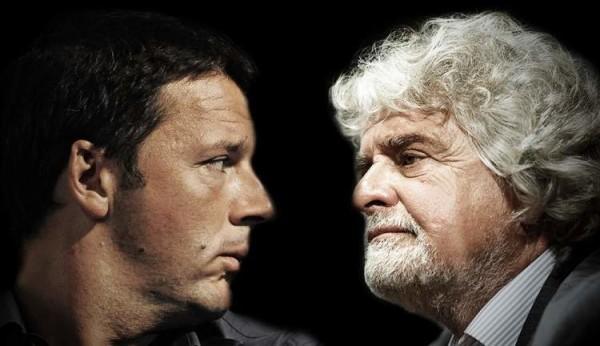 """Renzi: """"Scese le tasse con il nostro governo"""", Grillo ribatte: """"Continua a sparare balle"""""""