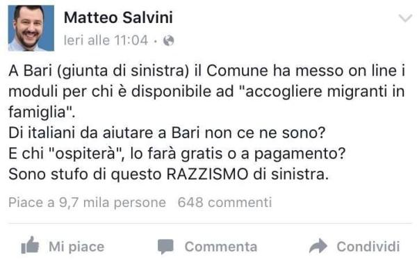 Matteo Salvini ad Antonio Decaro