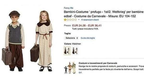 Costume di Carnevale da 'piccolo profugo' in vendita su Amazon, è bufera per l'azienda